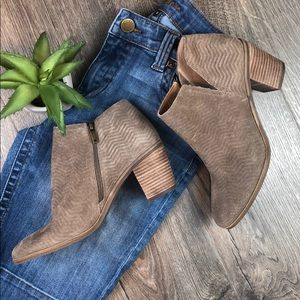 Leather Ankle Bootie Lucky Brand Suede Taupe